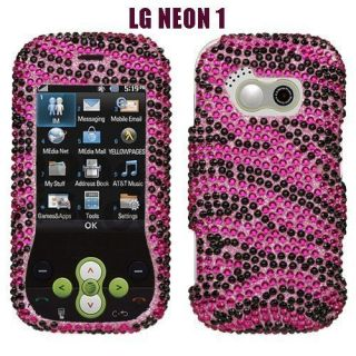 Hot Pink Zebra Diamond Bling Rhinestone Hard Case Cover LG Neon GT365