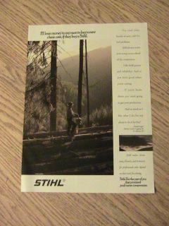STIHL CHAINSAW ADVERTISEMENT DAVID CRANER PROFESSIONAL LOGGER AD MAN