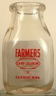 FARMERS CO OP CREAMERY FAIRMONT MINN MN MILK BOTTLE