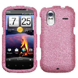 For HTC Amaze 4G Case Cover Bling Rhinestones Pink Diamond *