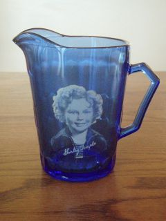 Blue Glass Shirley Temple Creamer Pitcher Movie Star Memoribilia