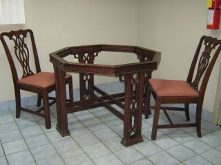 chinoiserie octogon dining room table   vintage Drexel