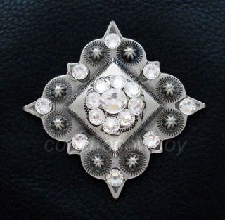 Set of 2 ANTIQUE SILVER CRYSTAL RHINESTONE CONCHOS 1