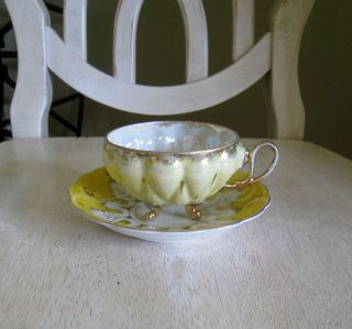 Sealy China Japan Footed Cup & Saucer Set Yellow/White Iridescent