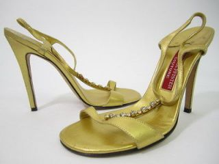 ANDREA PFISTER COUTURE Gold Tone Leather Jeweled Sandals Sz 37 7 PAULA