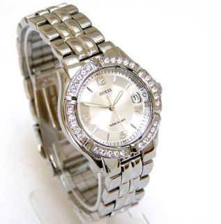 Guess Women Watch SWAROVSKI Crystals Date Silver Face G75511M