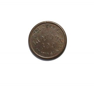 1863 Tom Cullen Liquors NY New York Civil War Store Card Token AU