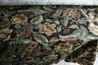 Black flora damask toile fabric material buy by the yard
