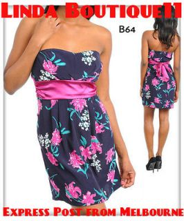 B64 New Womens Blue/Pink Cocktail Party Prom Graduation Ball Dress
