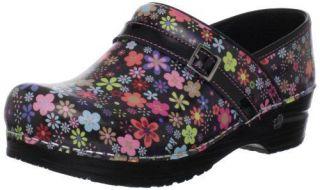 Sanita Womens KOI POND Black Floral Multi (Patent Leather Clogs)