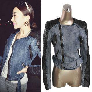 Fashion Women Slim Fit Denim Splice Faux Leather Short Jacket