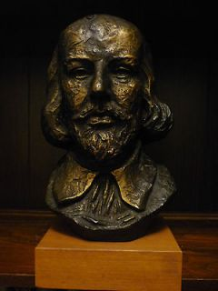 William Shakespeare Ceramic Bust 1965 Austin Productions Bronze