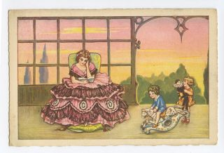 Lady read Book child Pierrot Doll Art Deco original 1920s postcard