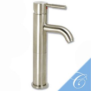 Brushed Satin Nickel Bathroom Vessel Sink Faucet Umbrella Popup Drain