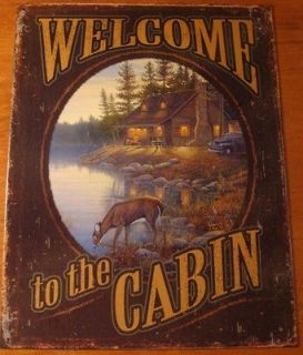 TO THE CABIN Rustic Log Cabin Primitive Deer Lodge Home Decor Sign NEW