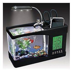 White USB Desktop Aquarium Mini Fish Tank With Running Water Holds 1