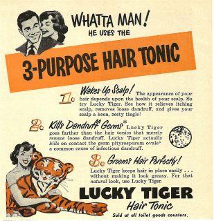 Original 1951 LUCKY TIGER Hair Tonic vintage magazine print AD *Whatta