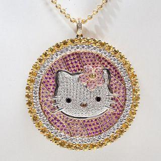 Estate Designer Hello Kitty Simmons 18k Gold Diamond Cocktail Pendant