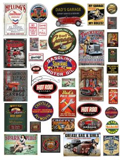 18 124th Garage Sign 2 Decals for Diecast & Model Car Dioramas