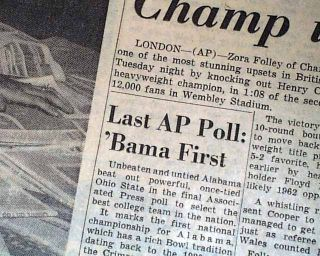 1961 Newspaper ALABAMA CRIMSON TIDE Coach Bear Bryant 1st College