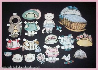 RARE Repro DOLLY DINGLE Cat KITTY CUTIE Cut PAPER DOLL Set GRACE G