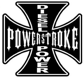 POWERSTROKE Ford MALTESE CROSS Diesel Power * Vinyl Decal Sticker 4X4