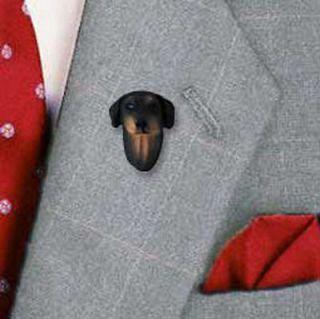 Doberman Pinscher Dog Pin Tack Figurine Black Uncropped