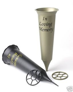 GRAVE VASE SPIKE   TEXT: IN LOVING MEMORY   BLACK