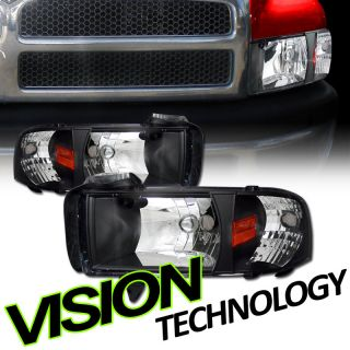 Pair 94 02 Dodge Ram Pickup/Truck JDM Black Crystal Head Lights+Corner