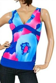 Womens Junior Clothing Blue/Pink Summer Top Blouse SMALL 3/5