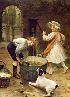 Victorian c19th Farm Boy Washtub Water Pump Jack Russell Terrier Dog