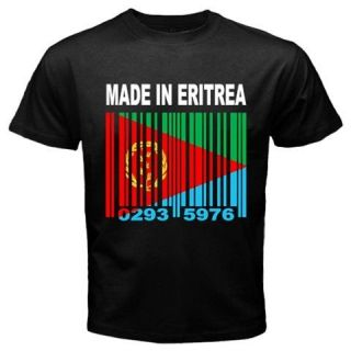 MADE IN ERITREA Eritrean Tigrinya Country Barcode Flag Black T shirt