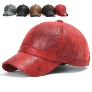 ililily New Mens Faux Leather Ball Cap Baseball Caps Trucker Hat Visor