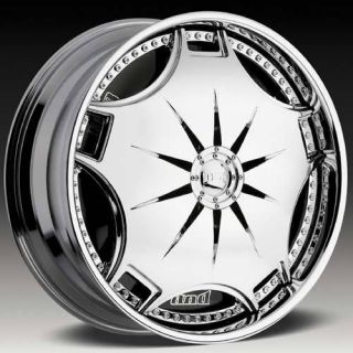 26 DUB SPIN Ganja Wheel SET 26x10 Chrome Spinner Rims For RWD 5 & 6