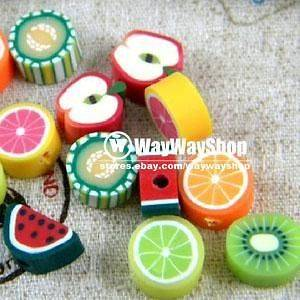 1000 X Nail Art Cane mixed fimo Polymer Clay Fruit Spacer Beads GGGGG