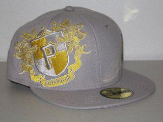 PITTSBURGH PIRATES TM CREST NEW ERA HAT CAP RARE FITTED FLAT BRIM GREY