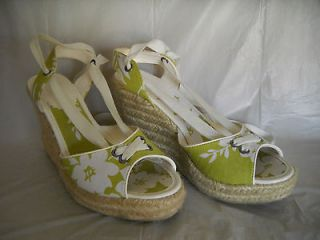 MONTEGO BAY CLUB Payless Womens Lime Green Floral Espadrille Wedge 6.5