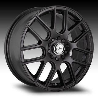 15 Inch 5x100 5x114.3 Black Vision Cross Wheels Rims 5 Lug 15x6.5