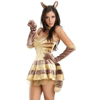 FRISKY FELINE Fur Kitty Cat Woman Lion Ears Tail Gloves Velvet Mini