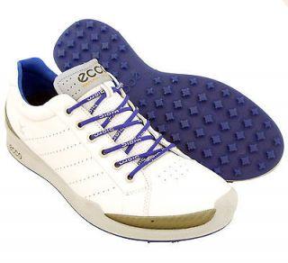 NEW Mens ECCO Biom Hybrid Golf Shoes White/Blue Size 10 10.5 EU 44