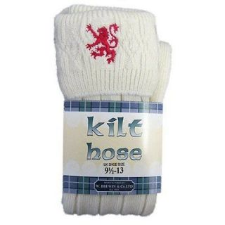 Mens Ecru Scottish Kilt Hose/Socks With Red Lion   Sizes US 7.5 10