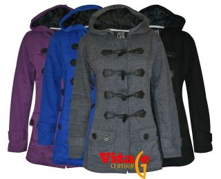 New Ladies Womens Hood Duffle Trench Hooded Pocket Coat Jackets Plus