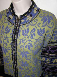ICELANDIC Design LINED Full Zip Wool Cotton Blue Green Sweater Jacket