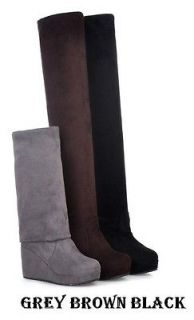 S3768 Women Grey Brown Black Warm Over The Knee Platform Wedge Boots