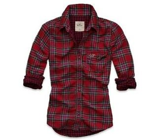 Hollister by Abercrombie Fallbrook Red Green Plaid Shirt XS $49.50