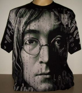 John Lennon Beatles All Over Print T Shirt Size L new