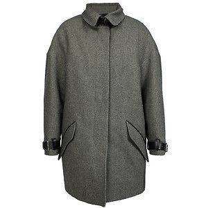NWT ISABEL MARANT Gray Wool Shelter Coat w/Leather Trim Size 2/M $1500