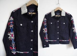 Isabel Marant Main Line Black Embroidered Roots Navajo Denim Jacket 0