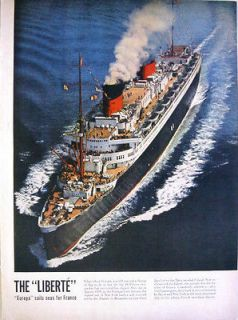 1950 FRENCH REBORN LINER LIBERTE   ONCE WAS GERMAN EUROPA   MAGAZINE