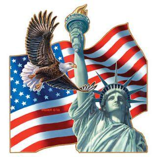 of Lady Liberty T Shirt Eagle American Flag Tee Large Cardinal Shirt